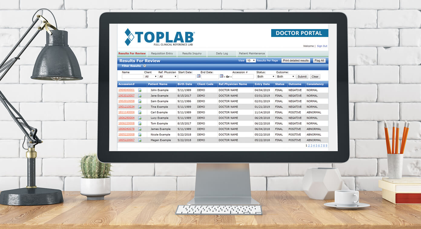 Computer monitor showing TOPLAB® Doctor Portal